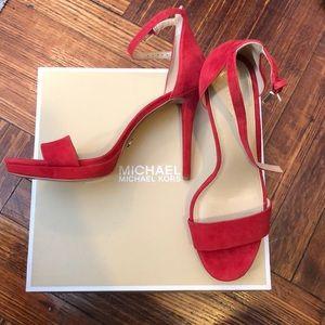 Red suede Michael Kors open toe heeled sandal